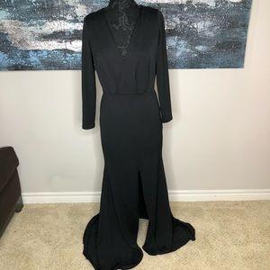 ASOS Black V-Neck Long Sleeve Maxi Evening Gown
